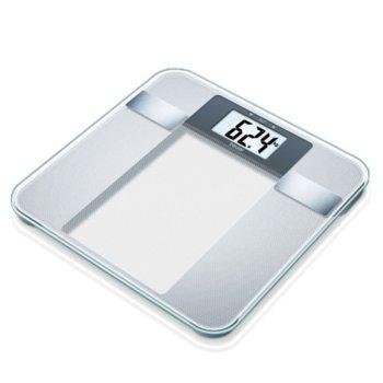 Цифров кантар с анализатор Beurer BG 13, капацитет 150 кг, LCD дисплей, с включена батерия, претегля теглото, телесната мазнина, съдържанието на вода в организма, мускулна маса, костна маса, бял image