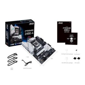 Дънна платка Asus PRIME Z490-A, Z490, LGA1200, DDR4, PCI-E 3.0 (DisplayPort&HDMI),(CFX&SLI), 6x SATA 6Gb/s, 2x M.2, 1x USB 3.2 Gen2 Type-C, ATX image
