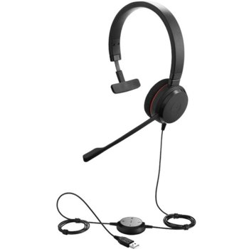 Слушалки Jabra Evolve 20 MS Mono USB NC, микрофон, пасивно неутрализиране на шумa, иновативен дизайн, сертифицирани за Skype for Business, черни image
