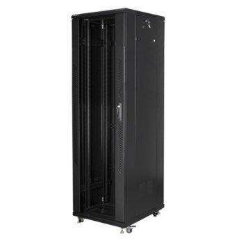 """Комуникационен шкаф Lanberg FF01-6842-12B, 19"""", 42U, 600 x 800 x 2047.5, стъклена врата, черен image"""