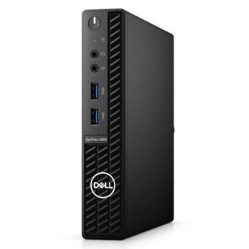 Настолен компютър Dell OptiPlex 3080 MFF (N206O3080MFF_UBU), четириядрен Comet Lake Intel Core i3-10105T 3.0/3.9 GHz, 4GB DDR4, 128GB SSD, 4x USB 3.2, Linux image