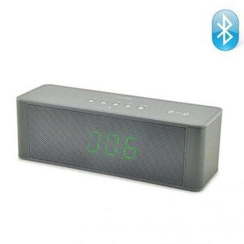 Тонколонa HOME SP CLOCK JY-28C, 10W, 3.5mm жак,цифров LED дисплей, часовник, Bluetooth, SD card, вграден микрофон, FM, MP3, сива image