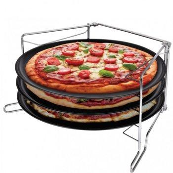 Комплект тави за пица и поставка KingHoff KH 1480, 32.3 см, 4 части, стомана, незалепващо покритие, черен image