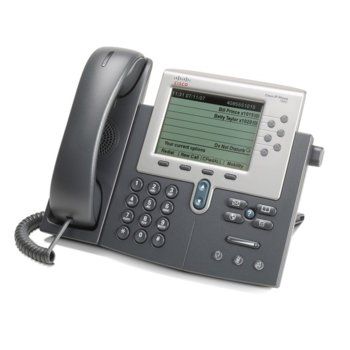 """VoIP телефон Cisco 7960G, 5.0""""(12.70 cm) LCD дисплей, 6 линии, 2x 10/100Base-TX, PoE, сив image"""