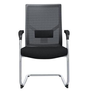 Посетителски стол RFG Snow M, до 120кг, дамаска/меш, черен, 2 броя в комплект image