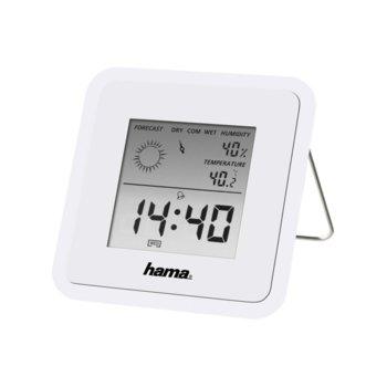 Цифров термометър/хигрометър Hama TH-50, часовник / календар / аларма, бял image