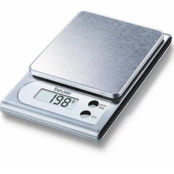 Цифров кухненски кантар Beurer KS 19 slate kitchen scale, капацитет 5 кг, LCD дисплей, с включена батерия, стоманен цвят image