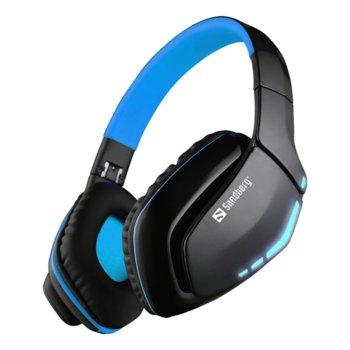 Слушалки Sandberg Blue Storm, Bluetooth, микрофон, черни image