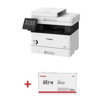 Мултифункционално лазерно устройство Canon i-SENSYS MF443dw в комплект с тонер касета Canon CRG-057H, монохромен принтер/копир/скенер, 600 x 600 dpi, 38 стр./мин, USB, LAN, Wi-Fi, A4 image