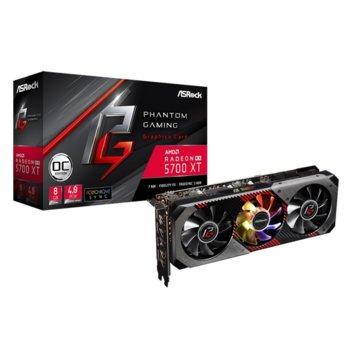 Видео карта AMD Radeon RX 5700 XT, 8GB, ASRock Phantom Gaming D OC, PCI-E 4.0, GDDR6, 256it, DisplayPort, HDMI image