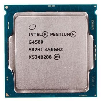 Intel Pentium G4500 дву-ядрен (3.5GHz, 3MB Cache, 350MHz-1.05GHz GPU, LGA1151) Tray, без охлаждане image