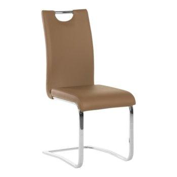 Трапезен стол Carmen 370-1, Еко кожа, 100 кг. максимално натоварване, кафе image