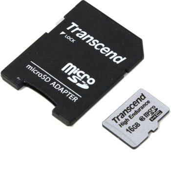Карта памет 16GB microSDHC с адаптер, Transcend High Endurance, Class10, скорост на четене 21MB/s, скорост на запис 20MB/s image