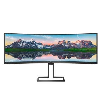 """Монитор Philips 498P9/00, 48.8""""(123.95 cm) VA панел, 70 Hz, Dual QHD, 5ms, 80000000:1, 450 cd/m2, DisplayPort, HDMI, USB Hub image"""