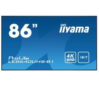 "Публичен дисплей Iiyama LE8640UHS-B1, 85.6""(217.4 cm) 4K UHD IPS LED, VGA, HDMI, DisplayPort, RS232, LAN, USB image"