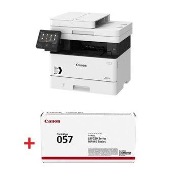 Мултифункционално лазерно устройство Canon i-SENSYS MF443dw в комплект с тонер касета Canon CRG-057, монохромен принтер/копир/скенер, 600 x 600 dpi, 38 стр./мин, USB, LAN, Wi-Fi, A4 image