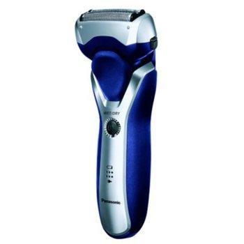 Самобръсначка Panasonic ES-RT37-S503, за влажно или сухо бръснене, безжична, 3 остриета, дигитален дисплей, защитен капак, нехлъзгаща се дръжка, до 54 минути време на работа, сребристo/синя image