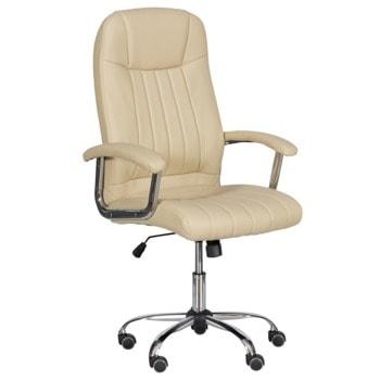 Президентски стол Carmen 6181, до 130кг, еко кожа, хромирана база, газов амортисьор, коригиране височина, Tilt tension механизъм, крем image