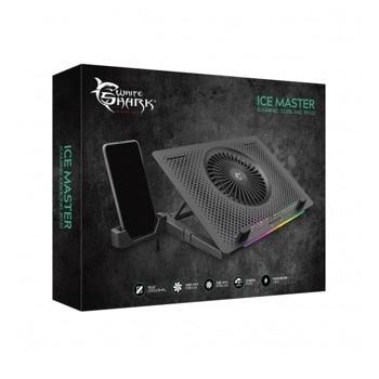 "Охлаждаща поставка за лаптоп White Shark Ice Master CP-33, за лаптоп до 15.6"" (39.62 cm), 2x USB 2.0, 1x вентилатор, LED подсветка, черна image"