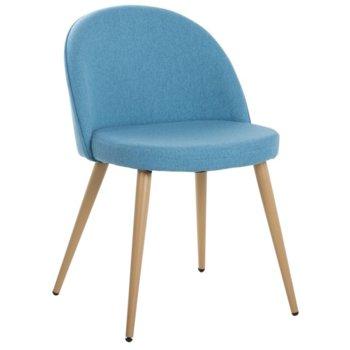 Трапезен стол Carmen 514, дамаска, метални крака, син  image