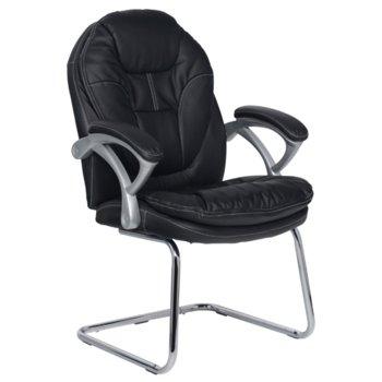 Посетителски стол Carmen 6041, еко кожа, полипропилен, черен image