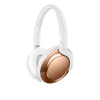 Слушалки Philips Flite SHB4805RG, безжични, микрофон, Bluetooth, до 13 часа работа, бял image