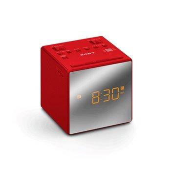 Преносим радиочасовник Sony ICF-C1T, AM/FM тунер, червен image