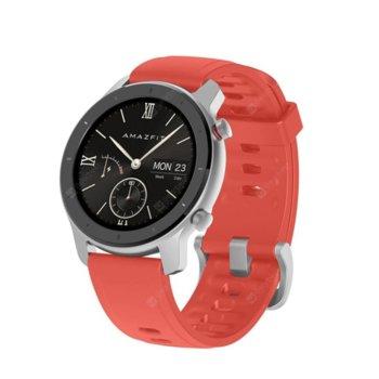"""Смарт часовник Xiaomi Amazfit GTR 42mm - Red, 1.2"""" (3.04 cm) AMOLED Gorilla Glass 3, до 12 дни живот на батерията, IP68, 6-осен сензор за ускорение, червен image"""