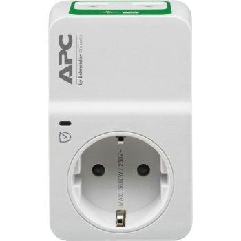 Контакт APC Essential SurgeArrest PM1W-GR, 1 гнездо, 2x USB, бял image