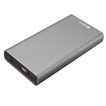 Bъншна батерия /power bank/ Sandberg USB-C PD, 20000 mAh, 2x USB A, 1x USB Type C, 1x microUSB Type B, QuickCharge 3.0, сива image