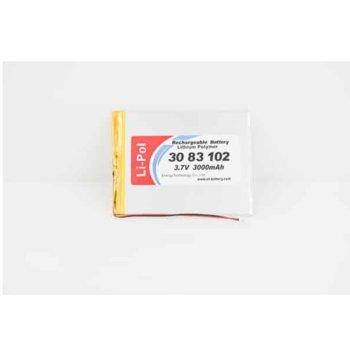 Литиева батерия LP3083102-PCM, 3.7V, 3000mAh, Li-polymer, 1бр., PCM защита image