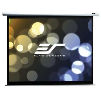 "Екран Elite Screens Electric110H, електрически за стена или таван, White, 2438 x 1372 мм, 110"" (279.4 cm), 16:9 image"