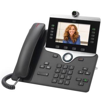 "VoIP телефон Cisco 8865, 5.0""(12.70 cm) цветен WVGA LCD дисплей, 5 линии, Wi-Fi, Bluetooth 4.1, 2x 10/100/1000Base-T, 2x USB, вградена камера, сив image"