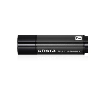 Памет 128GB USB Flash Drive, A-Data S102, USB 3.1, титаниево сива image