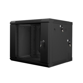 "Комуникационен шкаф Lanberg WF02-6609-10B, 19"", 9U, 600 x 600 x 507.3 mm, черен image"