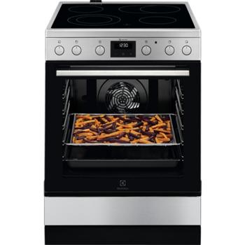 Готварска печка Electrolux LKR64020AX, 4 нагревателни зони, 73л. обем, пуш-пул въртящи се бутони, функции на програмиране на фурната, 10300W, инокс image