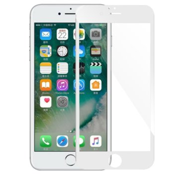 Протектор от закалено стъкло /Tempered Glass/, за Apple iPhone 6, 5D, бяла рамка image