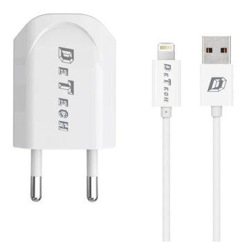 Зарядно устройство DeTech DE-11i от контакт към 1 x USB А(ж), 5V/1A, 220V, бяло с кабел от USB A(м) към Lightning, 1.0m image