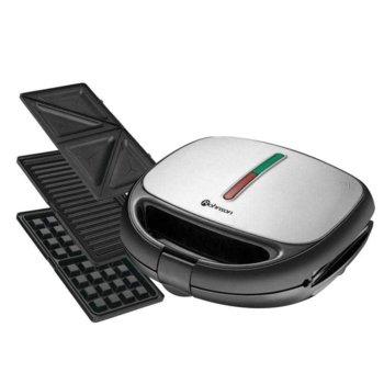 Сандвич скара Rohnson R 2670, 3 комплекта сменяеми плочи, aвтоматично управление на температурата, 800W, инокс image