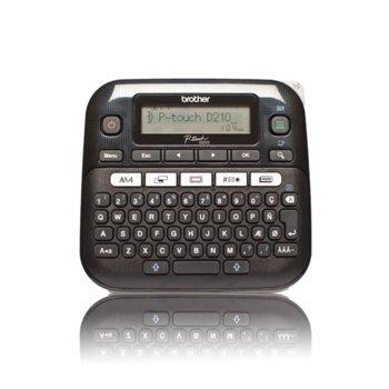 Етикетен принтер Brother PT-D210, LCD дисплей, ширина на етикета 3.5, 6, 9 и 12мм, скорост 20 мм/сек, QWERTY клавиатура, без кирилица image