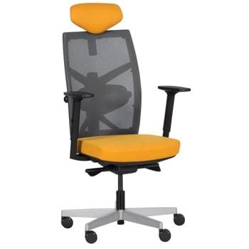 Президентски стол Carmen Fredo дамаска/мрежа, до 130кг. макс. тегло, газов амортисьор, алуминиева база, заключване в позиция, медено жълт image