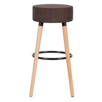 Бар стол Carmen 4025, до 100кг, дамаска, дървена база, кафяв image
