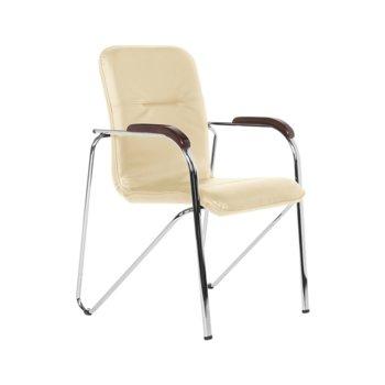 Посетителски стол Samba D, еко кожа, дърво, хром, бежов image