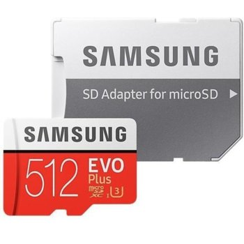 Карта памет 512GB microSDXC с адаптер, Samsung EVO+ MB-MC512HA/EU, скорост на четене 100MB/s, скорост на запис 90MB/s image