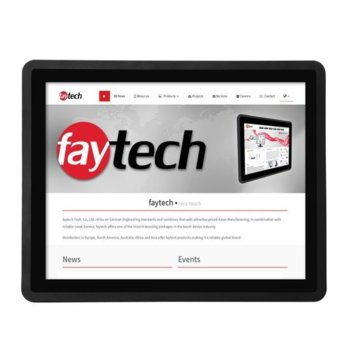 """Индустриален монитор Faytech FT15TMBCAPOB, 15"""" (38.1 cm) HD Touchscreen, HDMI, DVI-D, VGA image"""
