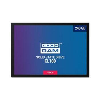 """Памет SSD 240GB Goodram CL100 Gen. 2, SATA 6 Gb/s, 2.5"""" (6.35cm), скорост на четене 520 MB/s, скорост на запис 400 MB/s image"""
