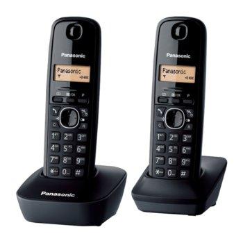 Безжичен телефон Panasonic KX-TG1612FXH, течнокристален черно-бял дисплей, черен image