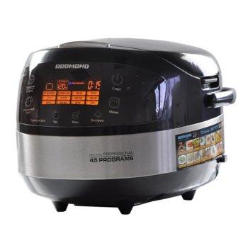 Мултифункционален уред за готвене Redmond RMC-M90E, 1000 W, капацитет 5л, 17 броя автоматични програми, цветен LED дисплей, керамично незалепващо покритие, аксесоари, черен image