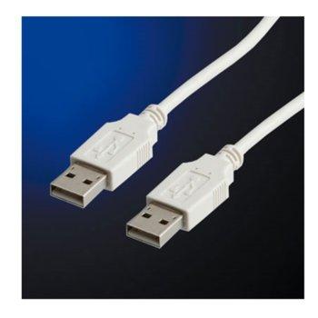 Кабел Roline 11.99.8908, USB A(м) към USB A(м), 0,8m, бял image