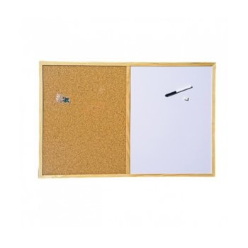 Комбинирана дъска, с дървена рамка, размер 600x900 mm, кафява и бяла image